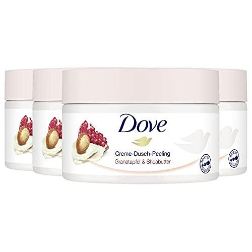 Dove Creme-Dusch-Peeling 4er Pack für seidig glatte Haut Granatapfel &...