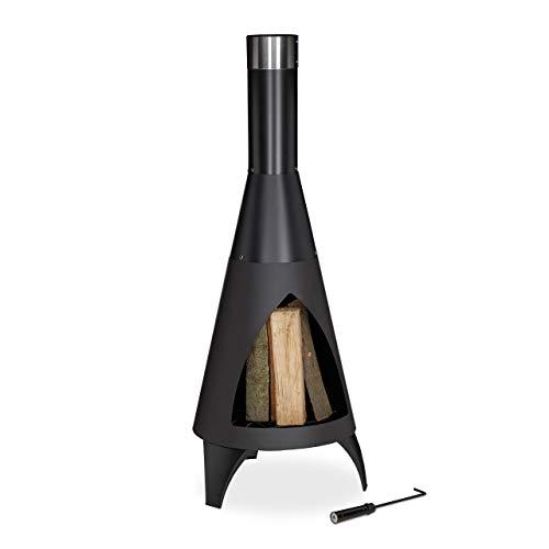 Relaxdays Terrassenofen mit Schürhaken, dekorative Feuerstelle, Gartenofen,...
