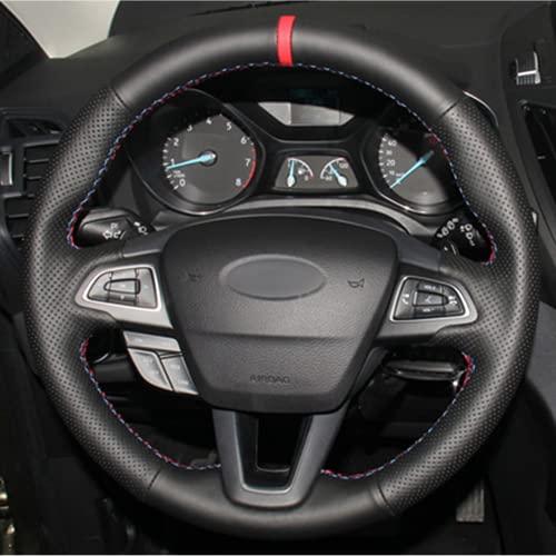 HEIZIJIA Handstitched Autolenkradabdeckung schwarz, für Ford Focus 3 2015~2018...