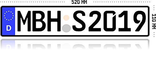 MBH-Shop KFZ Kennzeichen Autokennzeichen Wunschkennzeichen Nummernschild PKW...
