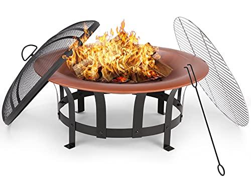 GARTIO Feuerschale(φ76X50cm),Feuerstelle mit Grillrost für...