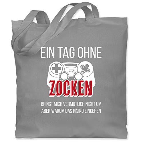 Shirtracer Nerd Geschenke - Ein Tag ohne Zocken rot - Unisize - Hellgrau - Nerd...