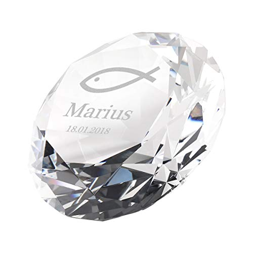 polar-effekt Diamant aus Glas mit Wunschgravur Taufe - Geschenkidee für Kinder...