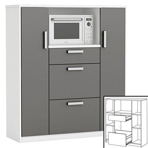habeig moderner Küchenschrank #8540 weiß grau Miniküche Küchenzeile...
