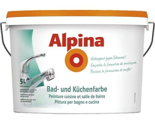 Alpina 5 Liter Bad & Küchen Spezialfarbe, Weiss Matt, Wandfarbe, Vorbeugend...