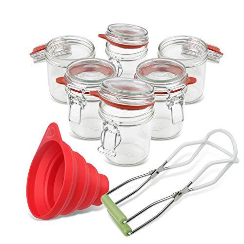 Dr. Oetker Einmachgläser mit Bügelverschluss 370 ml, Vorratsglas mit Trichter,...