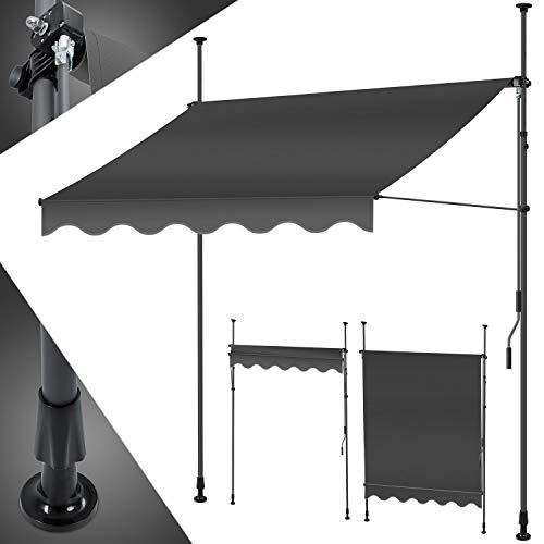 KESSER® Klemmmarkise 300cm x 180cm Anthrazit mit Handkurbel Balkon,...
