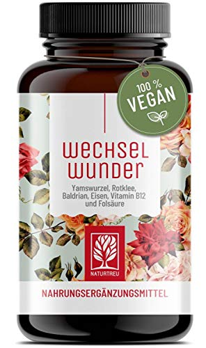WECHSELWUNDER - 500mg Yamswurzel mit 340mg Rotklee, Baldrian, Eisen, Vitamin B9...