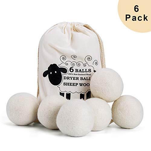 6 Pack Trocknerbälle für Wäschetrockner, Falten reduzieren und...