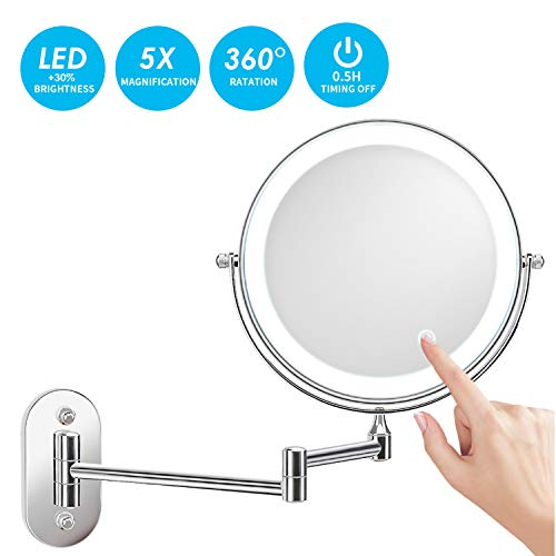 alvorog Kosmetikspiegel LED Beleuchtet mit 1x/5x Fache Vergrößerung...