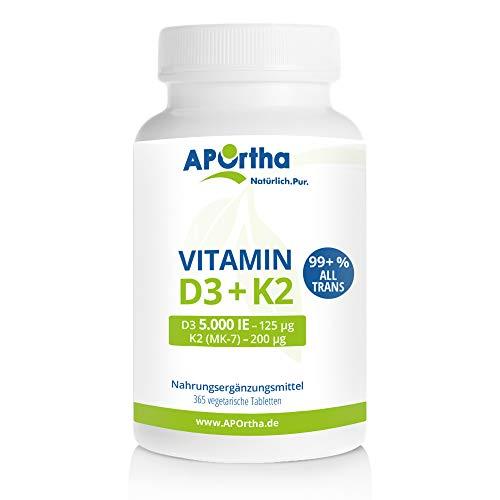 APOrtha Vitamin D3 5.000 I.E + 200 µg K2 99+% ALL-Trans I 365 vegetarische...