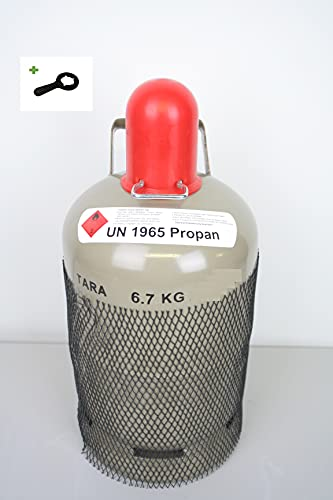 5 kg Gasflasche Grau Ungefüllt/Leer Eigentumsflasche Propangasflasche...