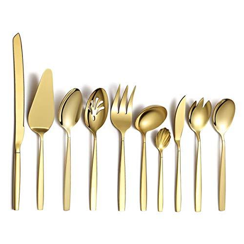 Berglander Gold Besteck Servierset 10 Stück, Edelstahl Besteck Servierset mit...