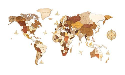 Wanddekoration, Weltkarte aus Holz, mehrschichtig, mehrfarbig gebeiztes Holz,...