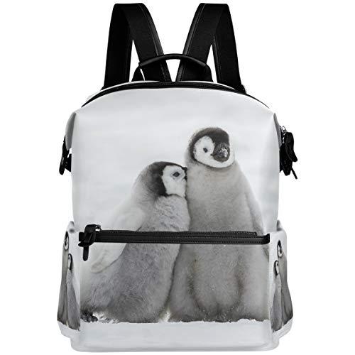 Oarencol Rucksack mit Zwei niedlichen Pinguin-Küken, weiß, Schnee,...