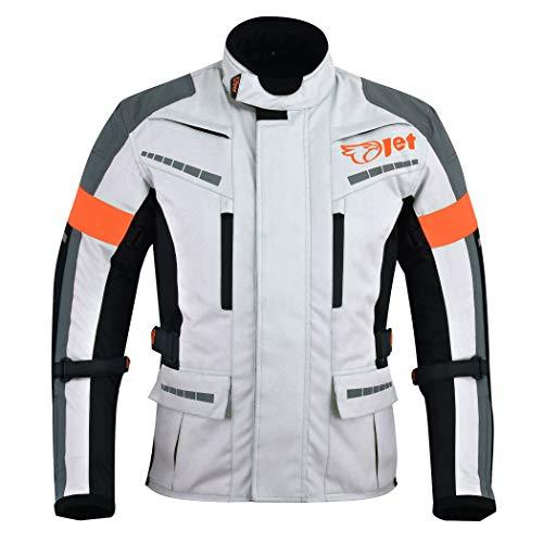 Jet Motorradjacke Herren Mit Protektoren Textil Wasserdicht Winddicht Silber...