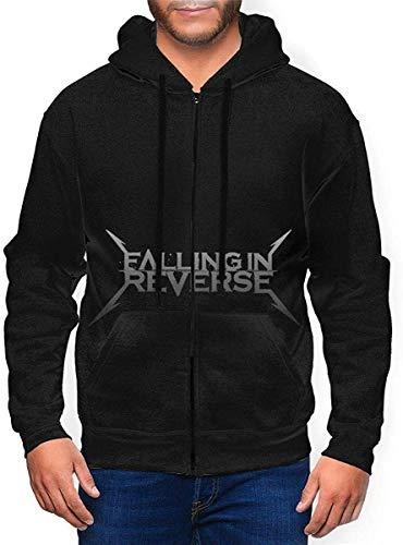 Falling in Reverse Logo Mens Hooded Zipper Shirt Long Sleeve Hooded Sweat Shirt...