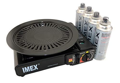 IMEX Camping Gaskocher Set Butan-Kocher im Tragekoffer mit 4 Gaskartuschen +...