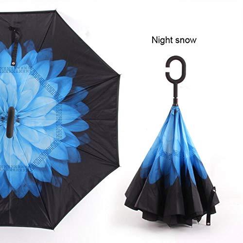 KETONG Anti UV Inverted Regenschirm Rück Nacht Schnee Winddichtes Folding Sunny...