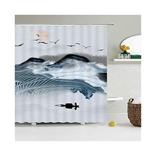 LHYLHY Wasserdichtes Polyester-Gewebe Duschvorhang Mit 12 Haken Badvorhang Home...