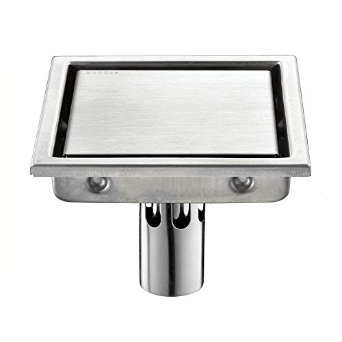 PURATEN Bodenablauf, Quadratischer Edelstahl-Anti-Geruch-Badezimmerbodenablauf,...