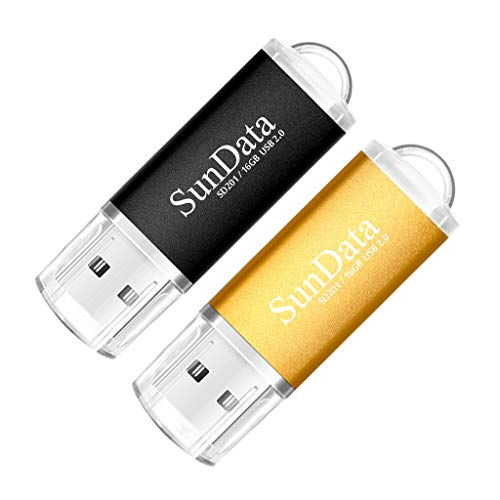 SunData USB Stick 16GB 2 Stück USB 2.0 Speicherstick Flash-Laufwerk Memory...