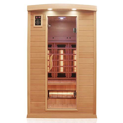 Dewello Infrarotkabine HYDER 115x105 für 1-2 Personen aus Hemlock Holz mit...