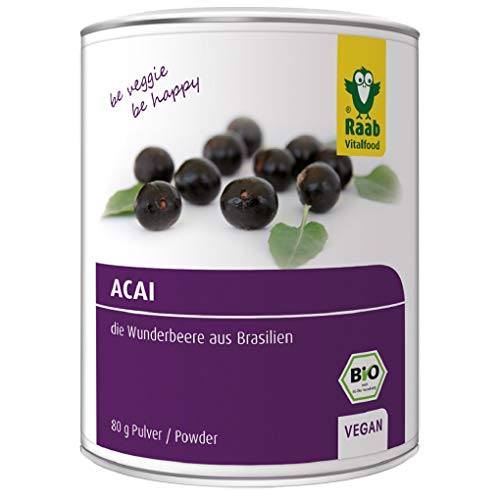 Raab Vitalfood Bio Acai-Pulver mit Polyphenolen & Anthocyanen, vegan,...