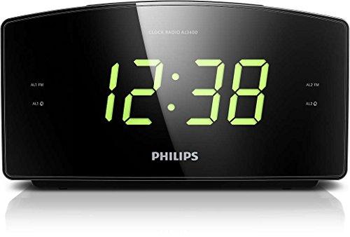 Philips AJ3400/12 Radiowecker/Uhrenradio (Großes Display, Zwei Weckzeiten,...