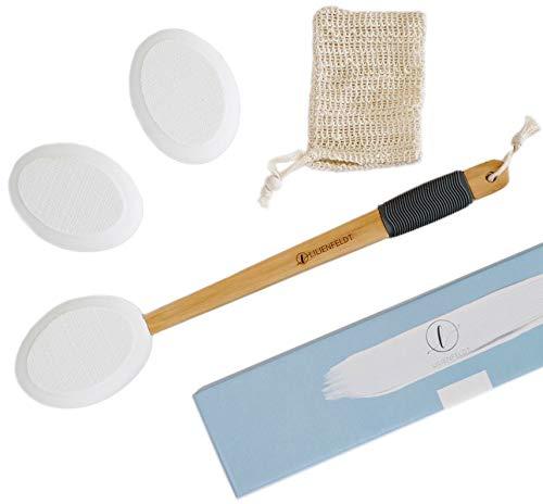 LILIENFELDT Eincremehilfe aus Holz inkl. 3 austauschbaren Pads & Wasch-Beutel....