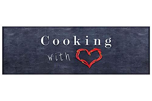 Küchenläufer Küchenteppich Teppichläufer Cooking with Love   waschbar,...