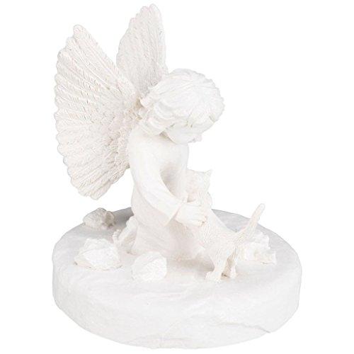 Trixie 38419 Gedenkstein Katze mit Engel, ø 12 × 14 cm, weiß