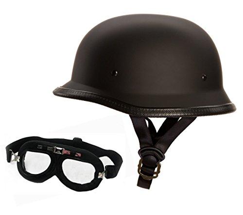 Redbike Oldschool Helm mit Fliegerbrille - Motorradhelm - Wehrmachtshelm -...