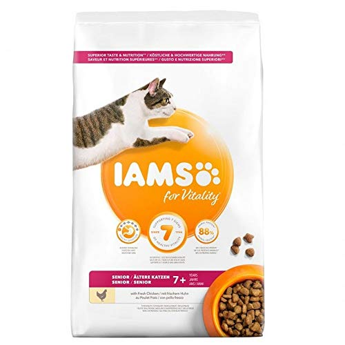 IAMS For Vitality Senior Komplett Katzen-Trockenfutter Mit Huhn (10kg) (kann...