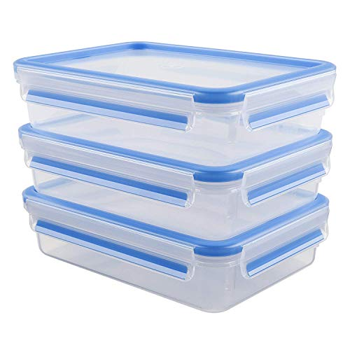 Emsa 515645 Food Clip & Close,Plastik, Transparent / Blau, 1,2 Liter, Set mit 3...