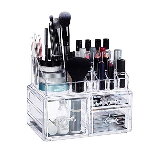 Relaxdays Make-Up Organizer, 3 Schubladen, Schmink-Aufbewahrung f. Nagellack,...