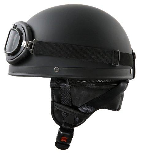 ATO-Helme Oldtimer Motorradhelm mit Brille Größe M 57cm bis 58cm Schwarz matt