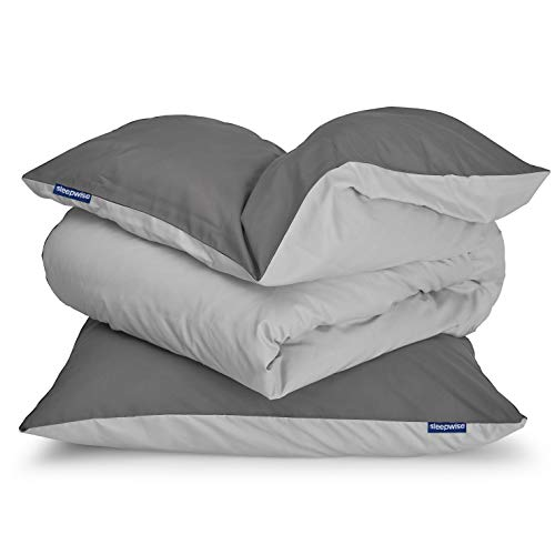 sleepwise 'Soft Wonder-Edition Bettwäsche (Dark Grey/Light Grey, 135 x 200 cm)
