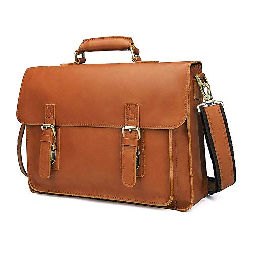 DLSMB Laptop-/Messenger-Tasche für Herren, aus Leder, für 15,6 Zoll (39,6 cm)...