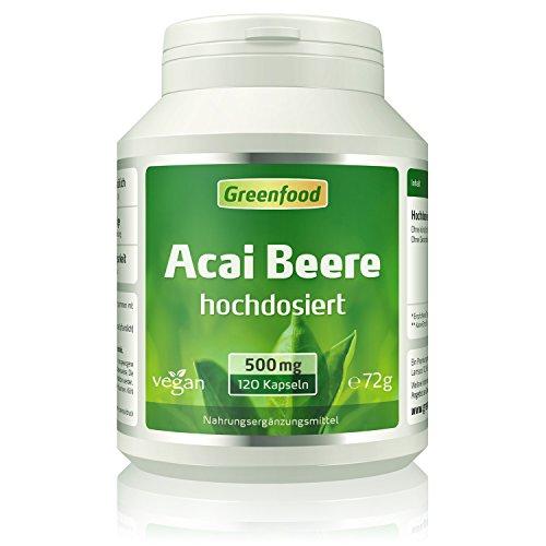 Greenfood Acai Beere, 500 mg, hochdosierter Extrakt (30:1), 120 Kapseln –...