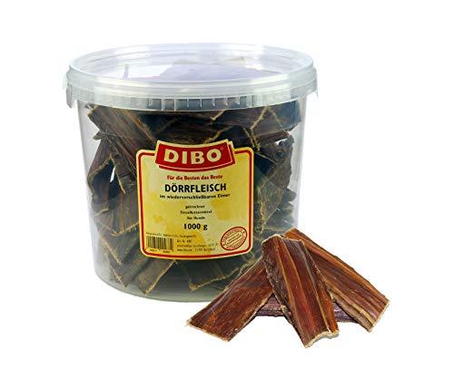 DIBO Dörrfleisch, 1.000g-Eimer, der kleine Naturkau-Snack oder Leckerli für...