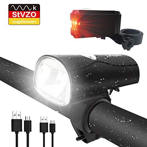 LIFEBEE LED Fahrradlicht, LED Fahrradbeleuchtung StVZO Zugelassen USB...