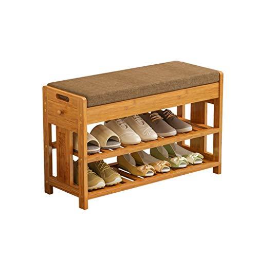M-YN Schuhschrank Schuhregal Bambus Schuh Bank Rack mit Sitzkissen, Flur...