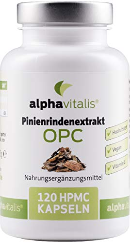 500 mg Pinienrindenextrakt mit OPC je Kapsel + natürliches Vitamin C - ohne...
