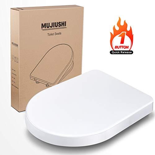 Toilettendeckel, MUJIUSHI Premium D-Form WC Sitz Duroplast Toilettensitz mit...