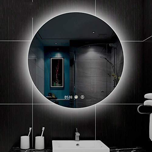 LFDHSF Badezimmerspiegel, Intelligente runde Touch-LED Beleuchteter...