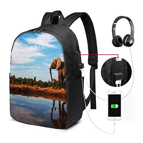 Laptop Rucksack Business Rucksack für 17 Zoll Laptop, Elefantenwasserloch...