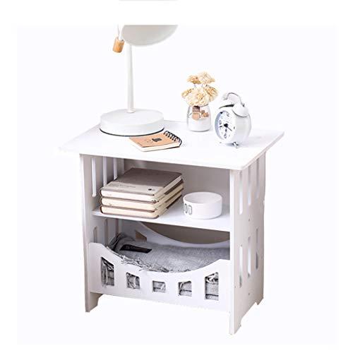 XUQIANG Nachttisch Tisch Weiß Nacht Beistelltisch mit Abstellflächen Compact...