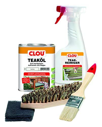Clou Teakholz Pflegeset: 750 ml Teaköl, 500 ml Holzreiniger, Bürste, Pinsel &...