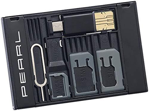 PEARL SIM Karten Adapter: SIM-Karten-Organizer mit microSD-Card-Reader für USB...
